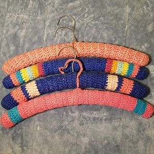 Other - 4 Vintage Crocheted/Knit Covered Coat Hangers